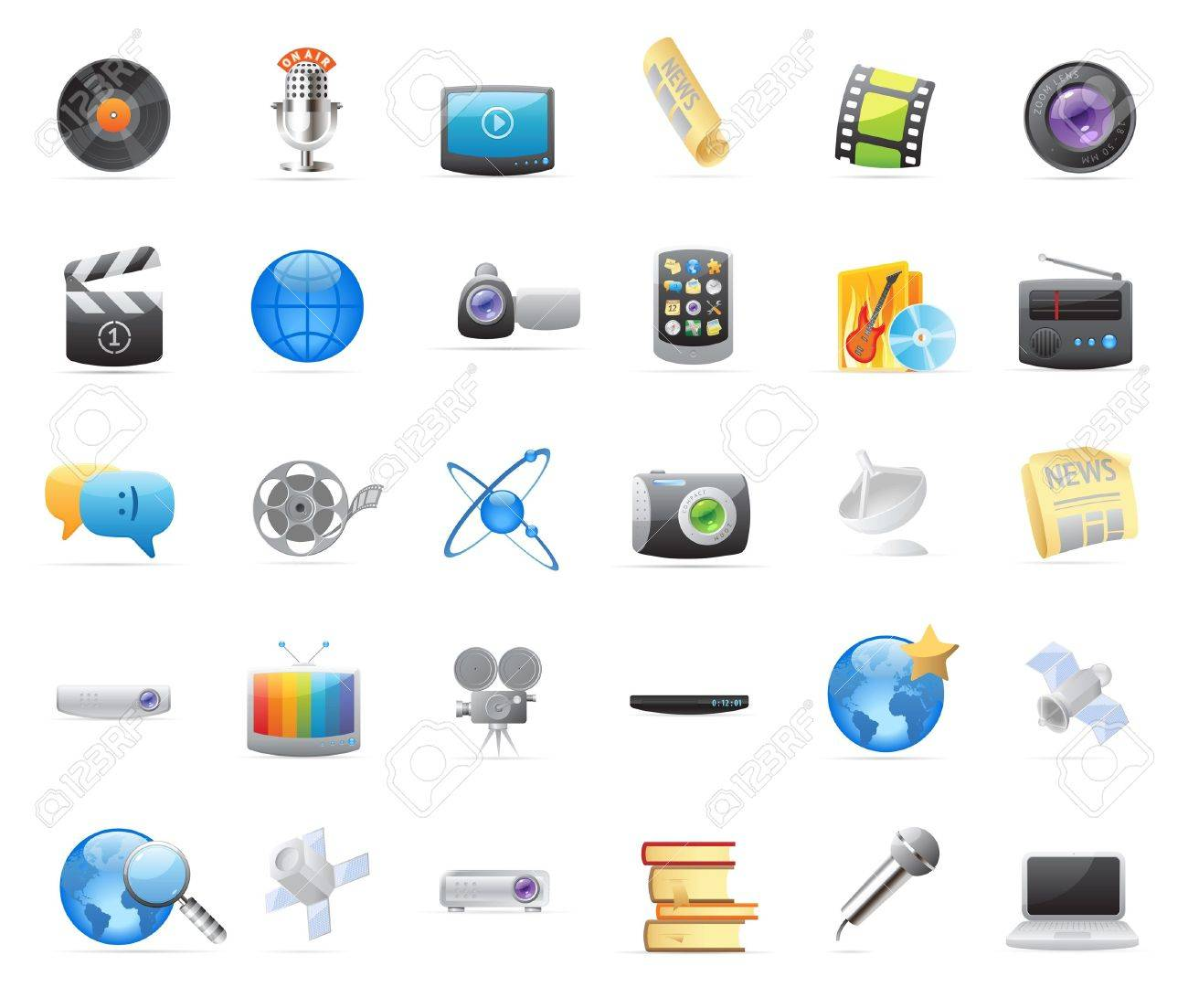 30 detailed vector icons for media. - 12116495