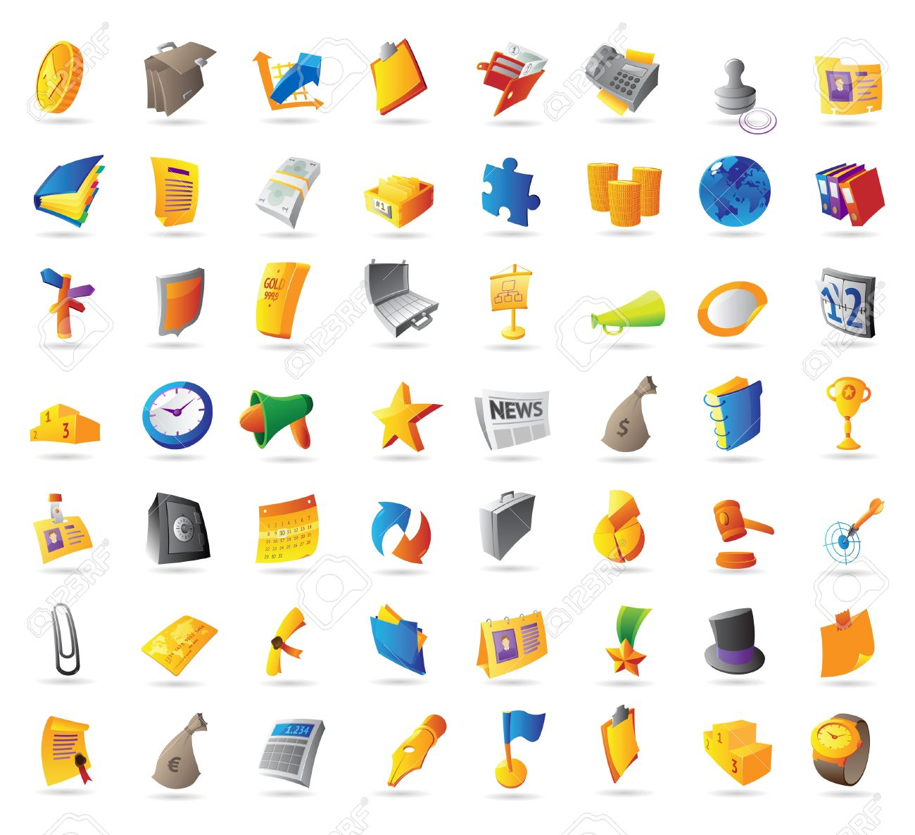 Icons for business, finance and office. Vector illustration. - 12885930