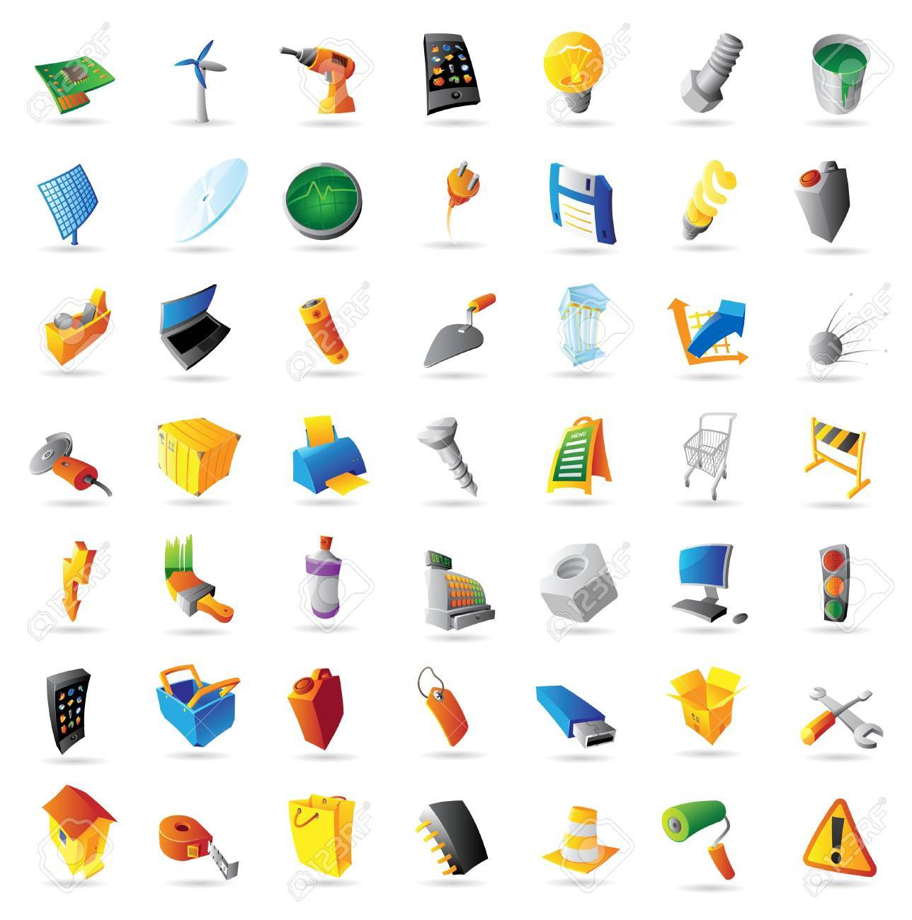 Icons for industry, technology and computers. Vector illustration. - 12885980