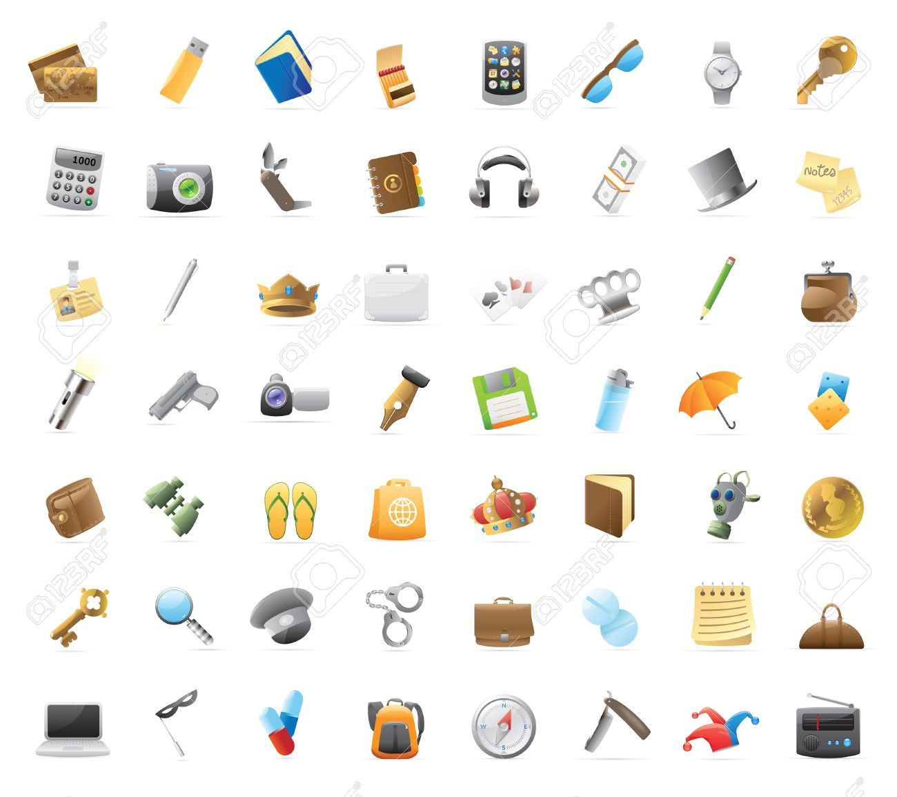 Personal belongings: 56 detailed icons for things you can carry. - 13094384