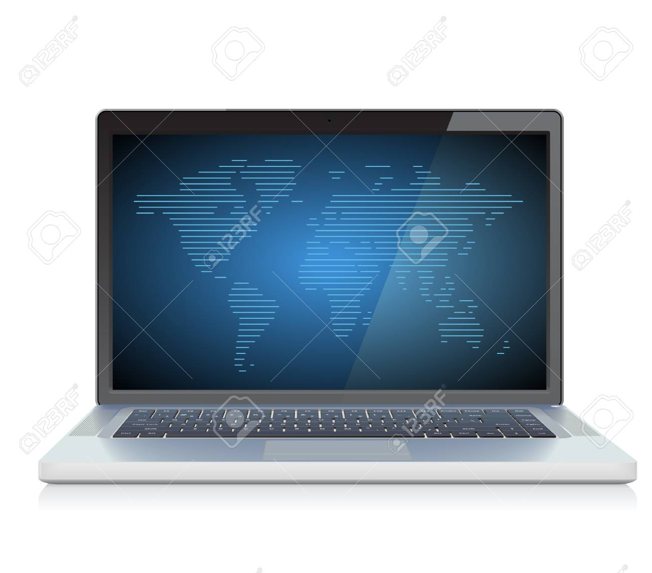 Laptop with World map on screen Stock Vector - 13094377