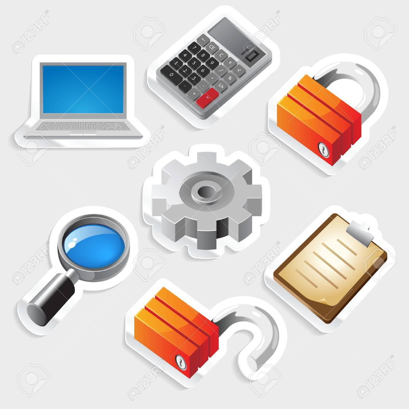 Sticker icon set for computer programs and website interface Stock Vector - 13094375