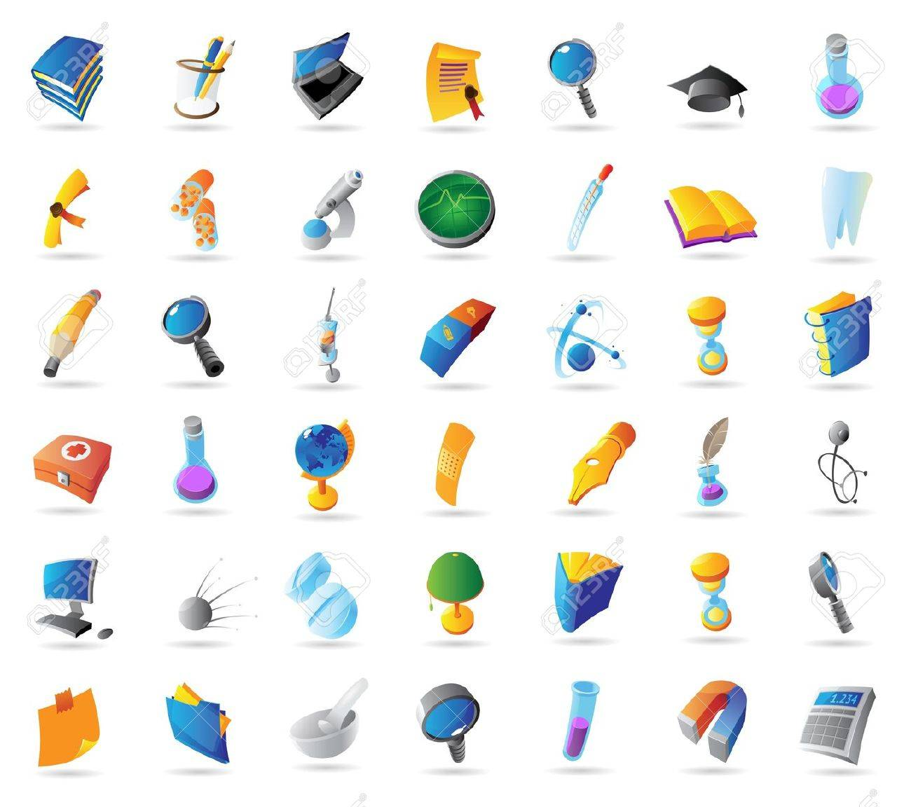 Icons for science, education and medicine. Vector illustration. - 13853171