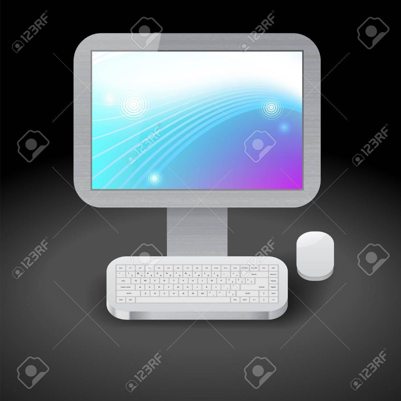 パソコンのディスプレイ上の青と紫の壁紙のアイコン 暗い背景 の