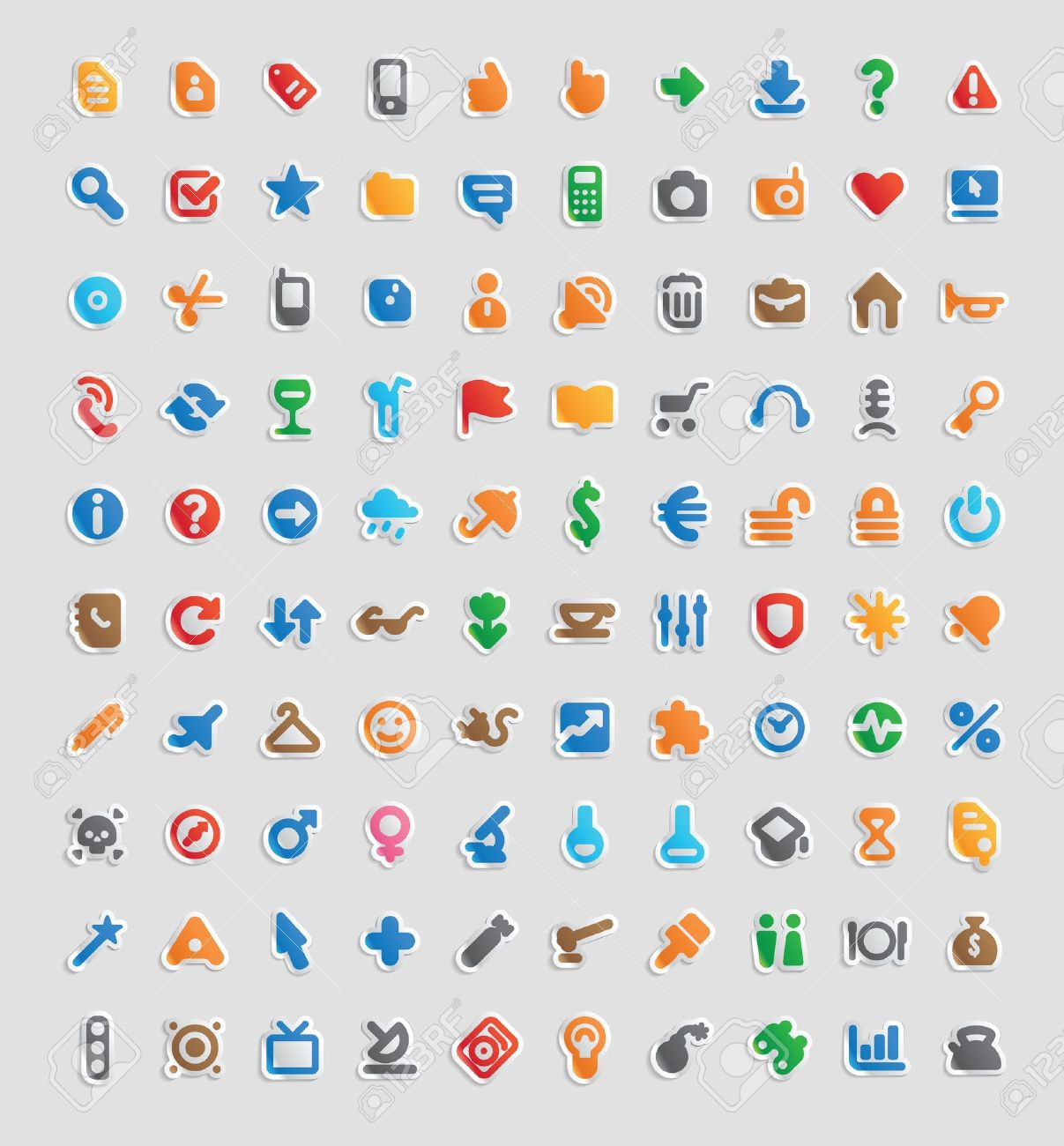 Sticker button set. 100 multicolored icons for business, entertainment and education. - 13854281