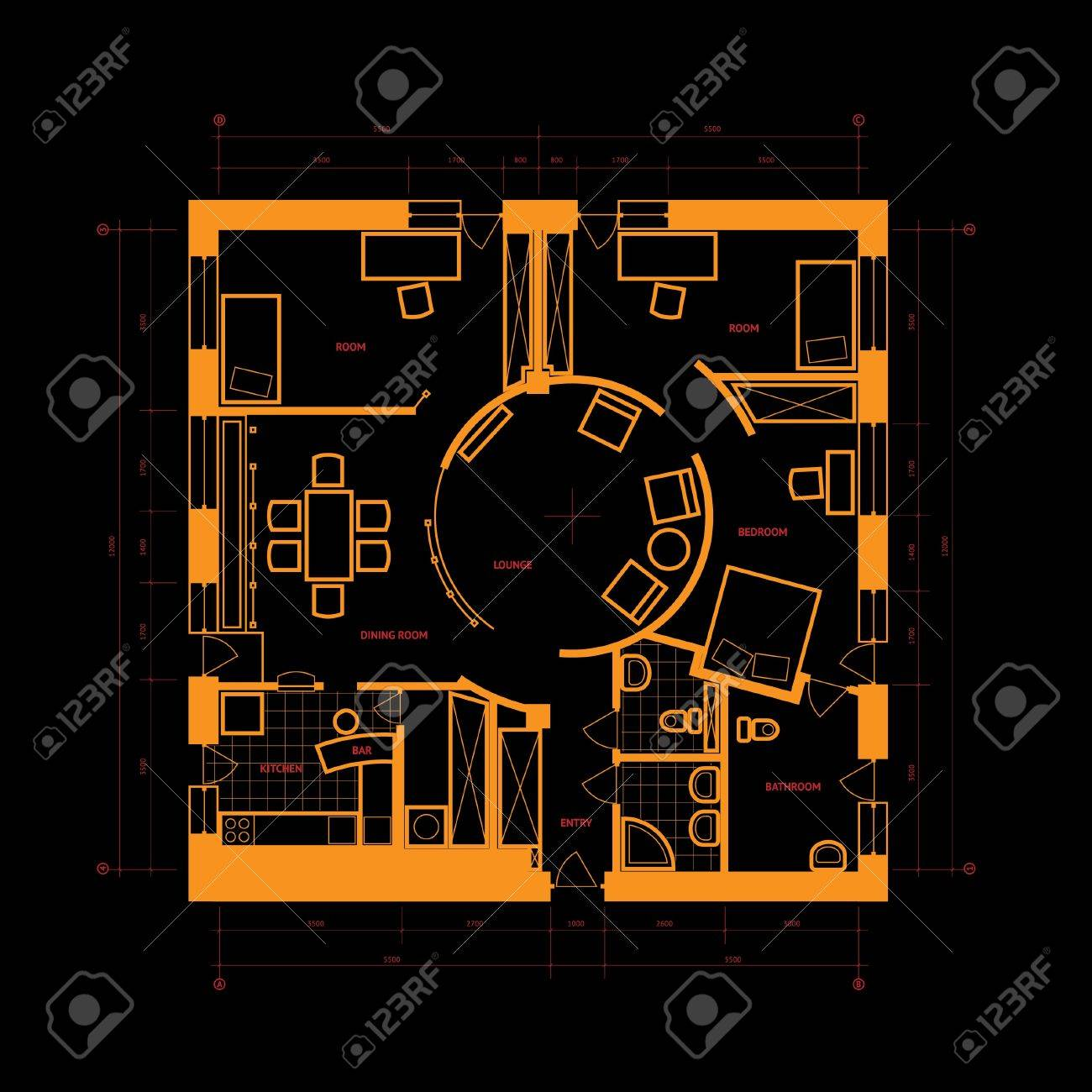 Abstract blueprint background in black and orange colors. - 14202588