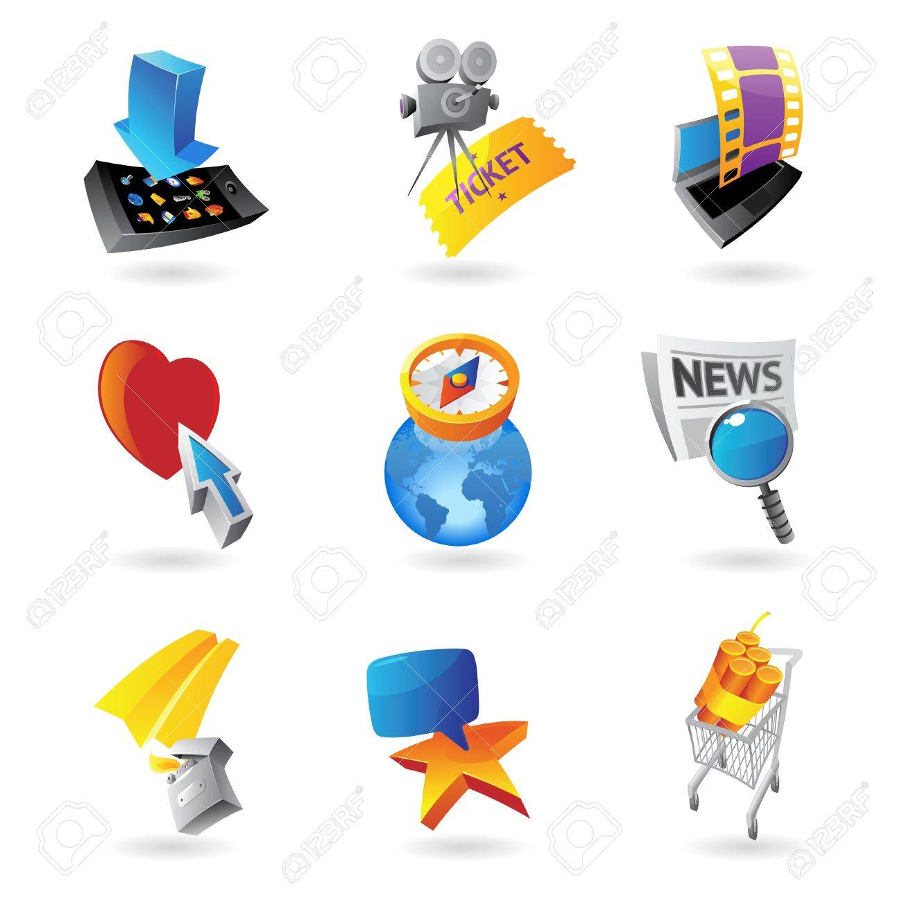 Icons for media, information and entertainment. Stock Vector - 14202549