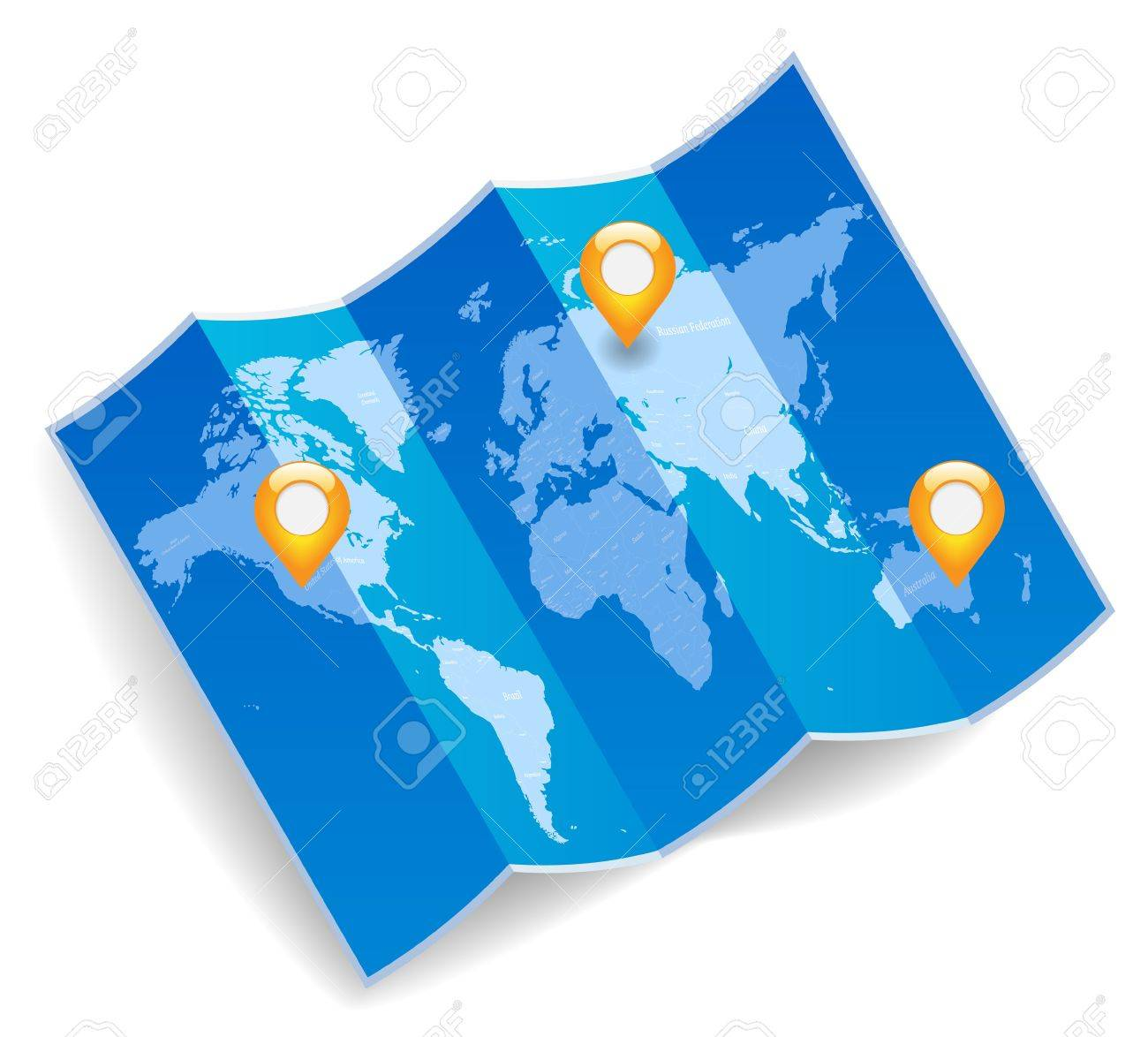 Blue folded world map with gps marks royalty free cliparts vectors blue folded world map with gps marks stock vector 14202611 gumiabroncs Image collections