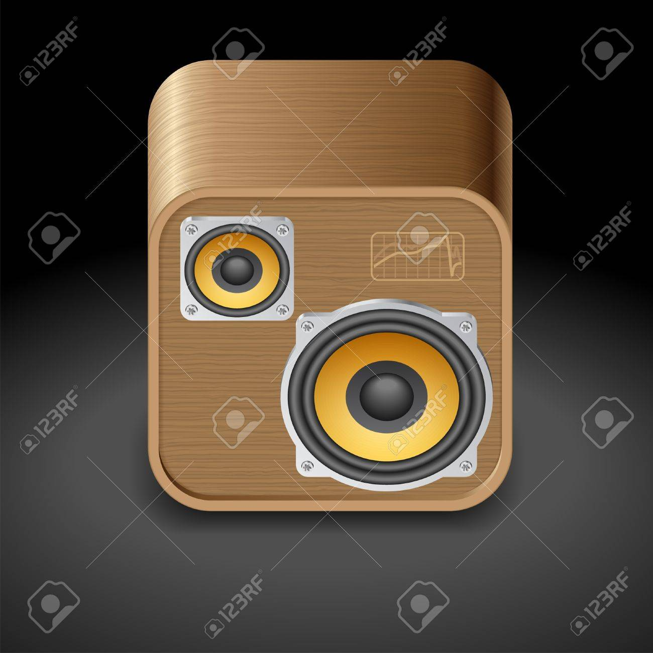 Icon for speakers. Dark background Stock Vector - 15082309