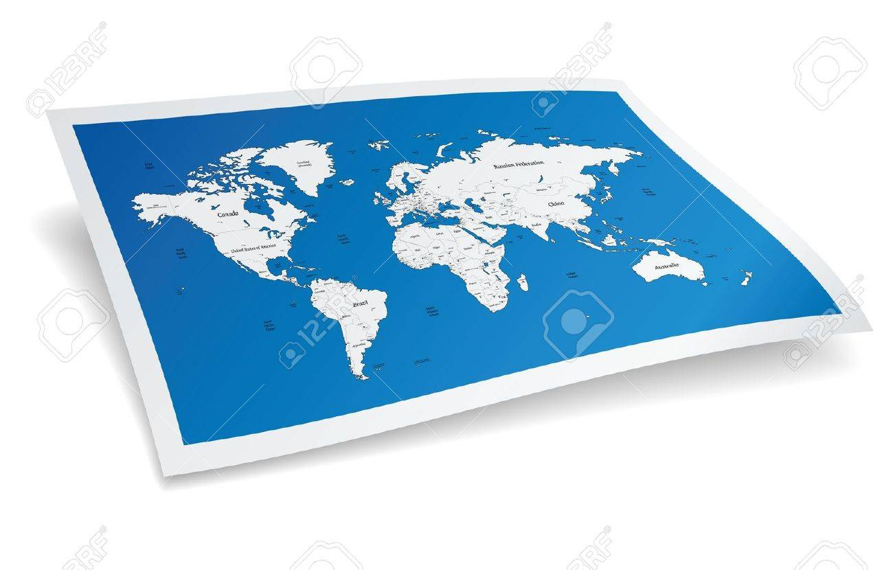 Blue world map - 15082352