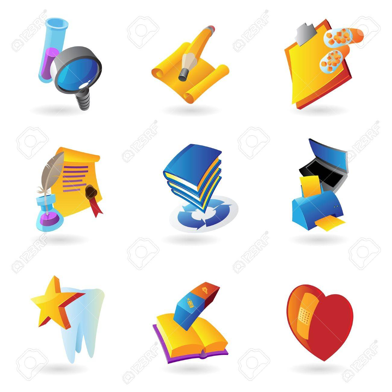 Icons for science, education and medicine  Vector illustration Stock Vector - 15304666
