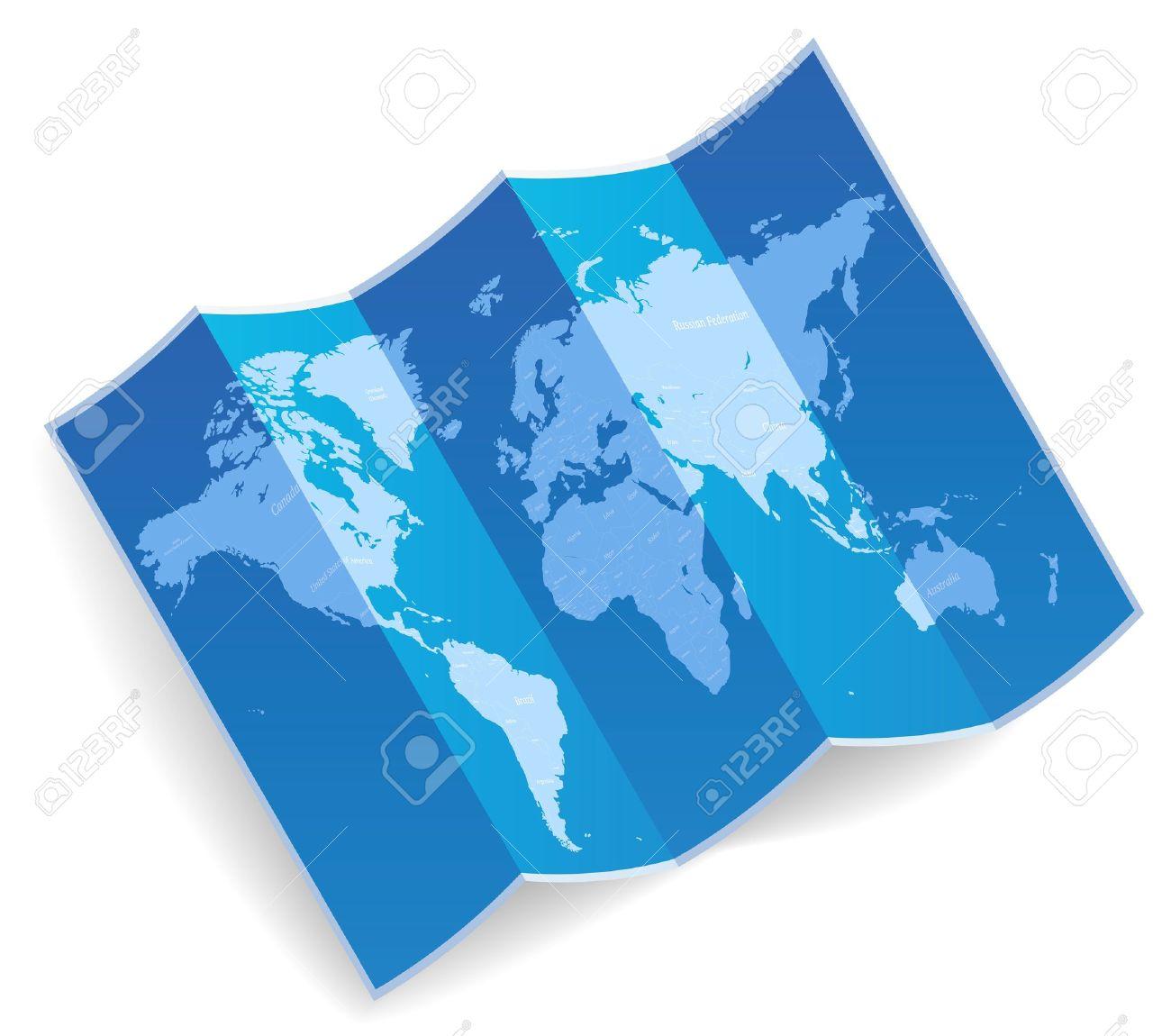 Blue folded world map Vector illustration - 15304640