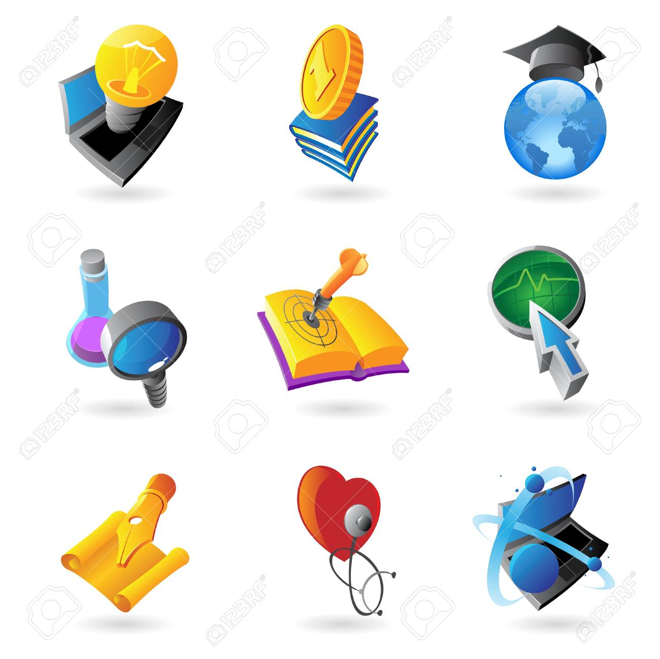 Icons for science, education and medicine Stock Vector - 15526381