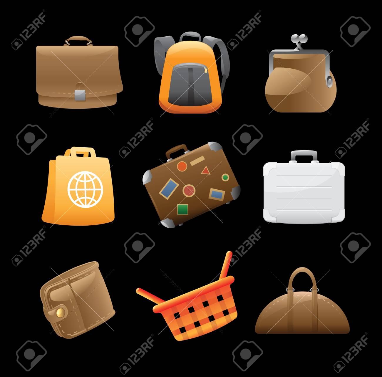 90fc4246bf147 Icons Für Verschiedene Taschen. Lizenzfrei Nutzbare Vektorgrafiken ...