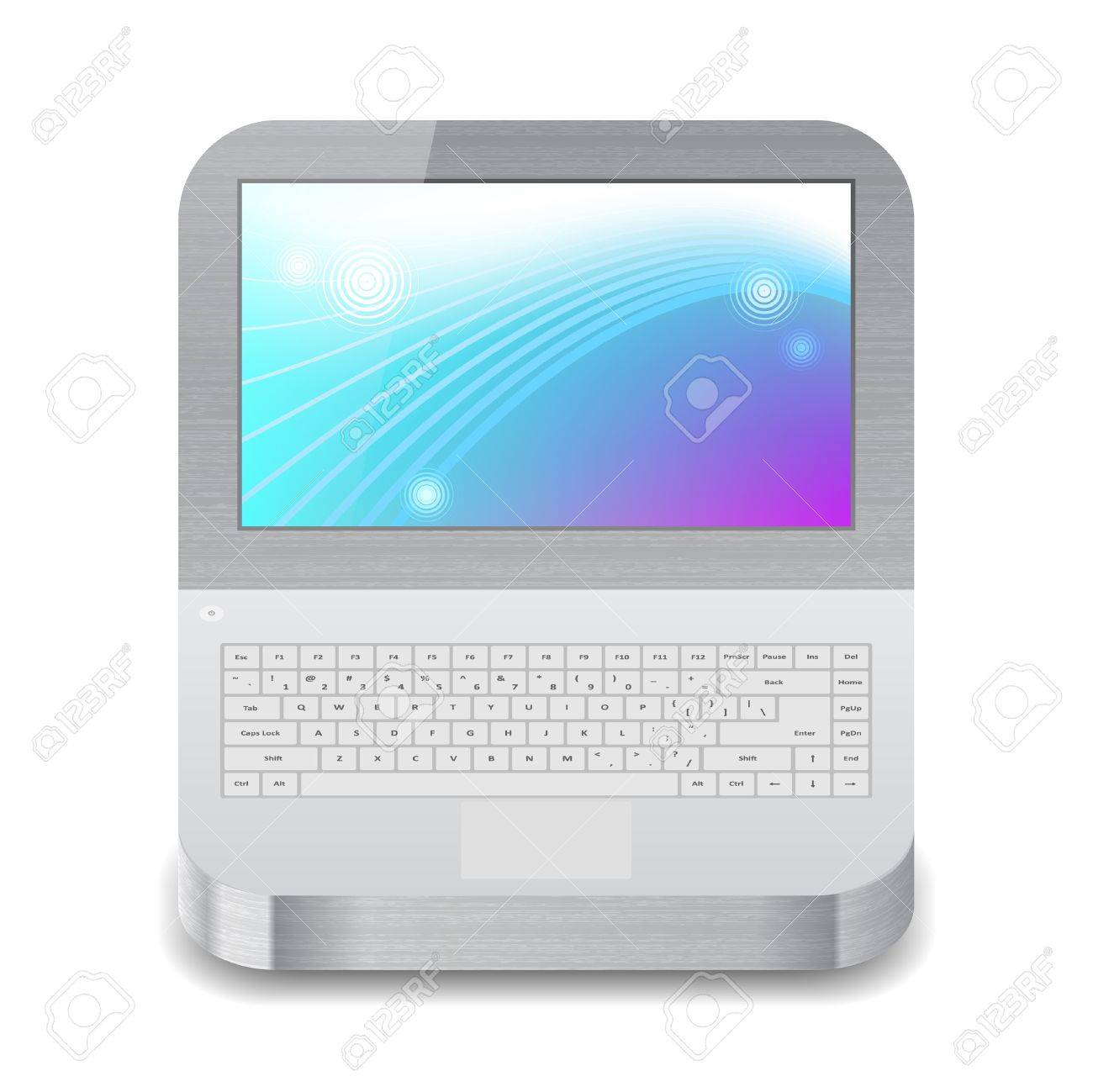 Icon for laptop with blue and purple wallpaper on display. White background. Stock Vector - 15585068