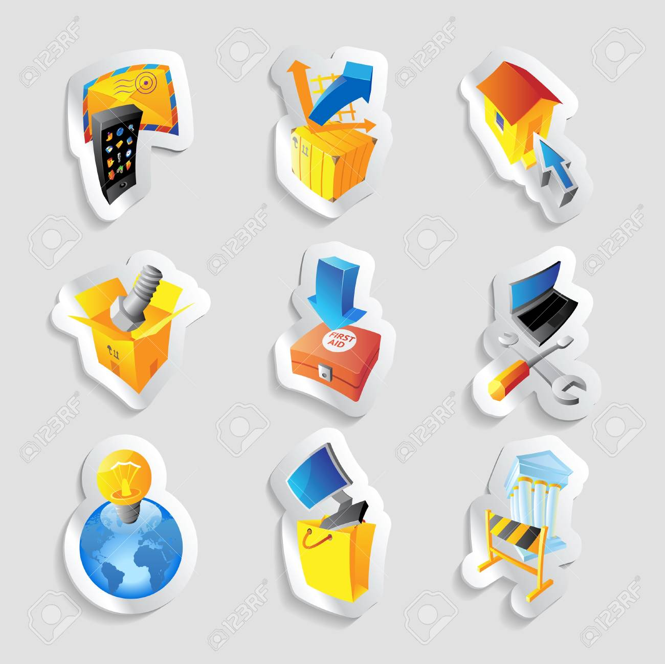 Icons for industry. Stock Vector - 15585085