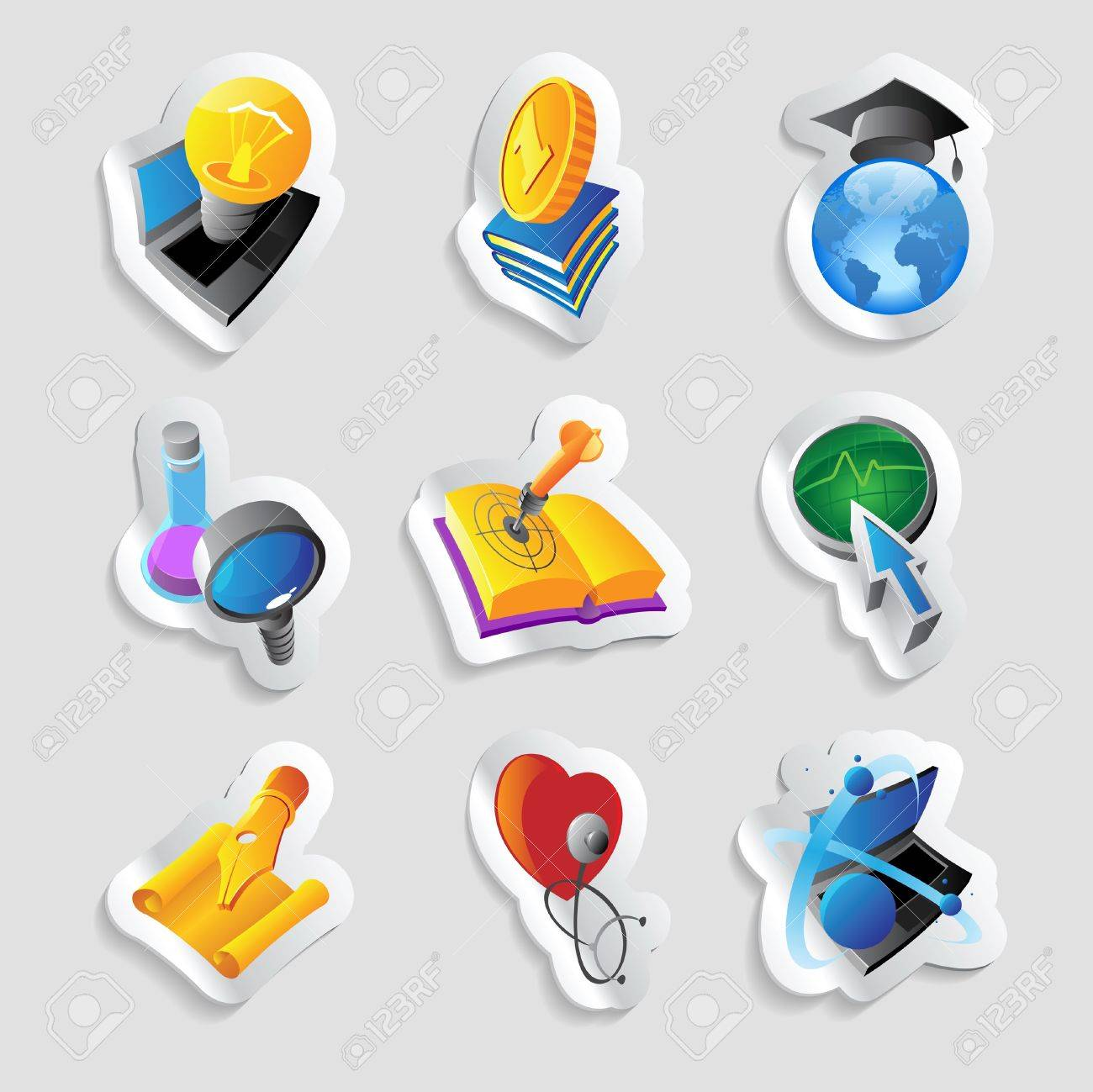Icons for science, education and medicine. Stock Vector - 15658610