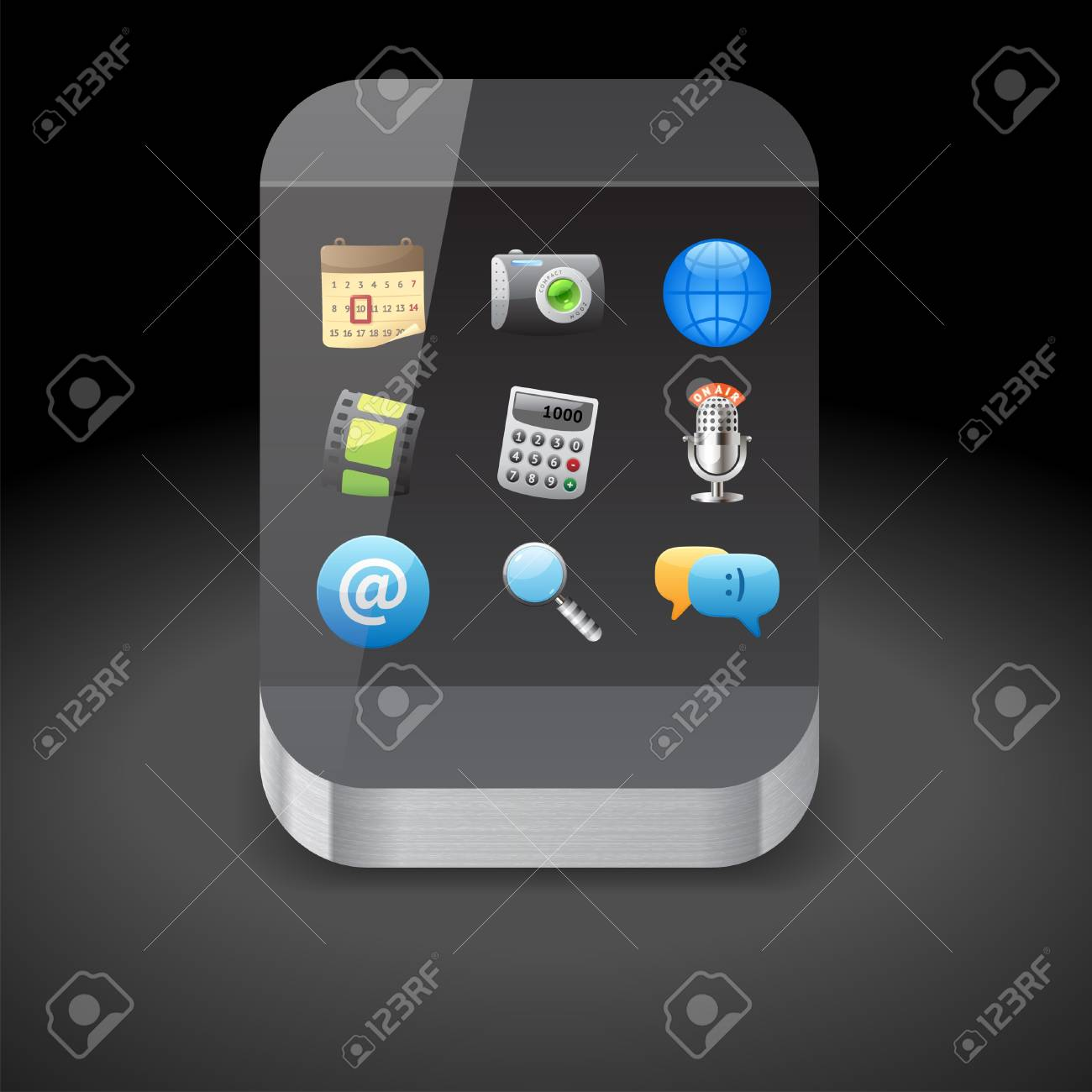 Icon for smartphone with app icons on display Stock Vector - 15710799