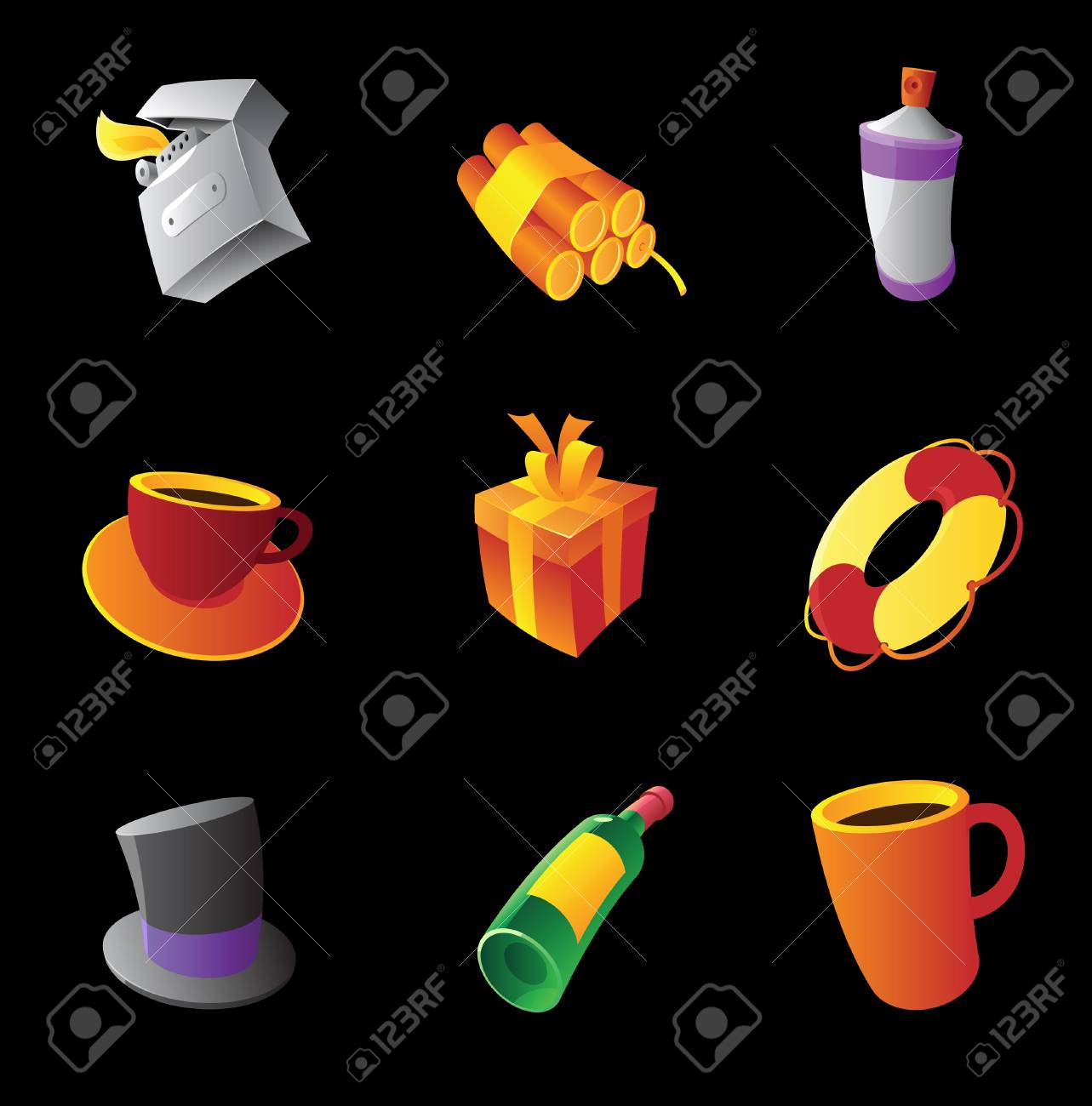 Miscellaneous icons on black background Stock Vector - 15800180