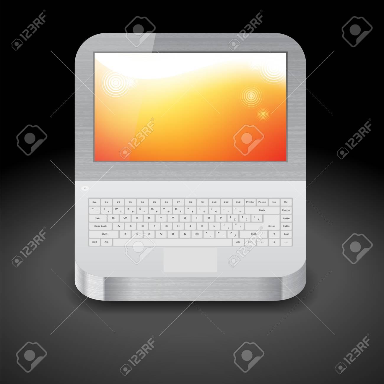 ディスプレイ上のオレンジ色の壁紙のラップトップのためのアイコン のイラスト素材 ベクタ Image