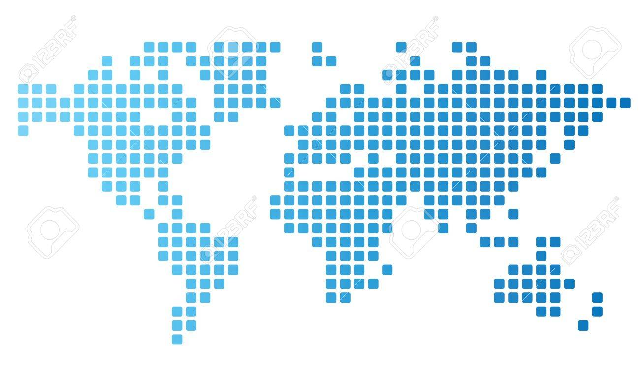 Dotted world map made of rounded rectangles - 15800170