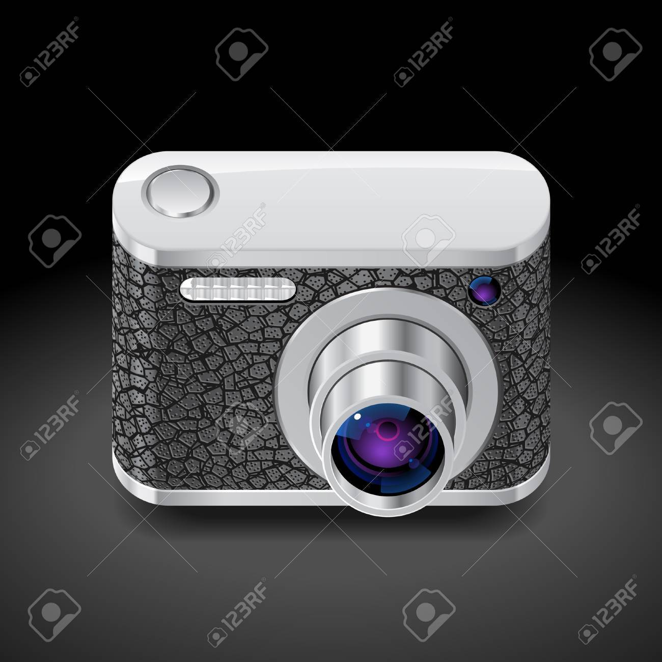Icon for compact camera decorated with leather. Dark background. Vector saved as eps-10, file contains objects with transparency. Stock Vector - 15858436