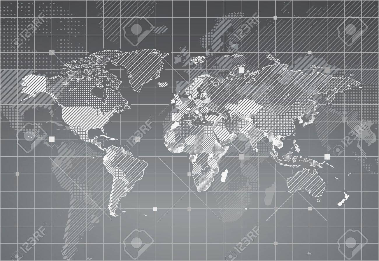 World map with textured countries. illustration. - 18007892