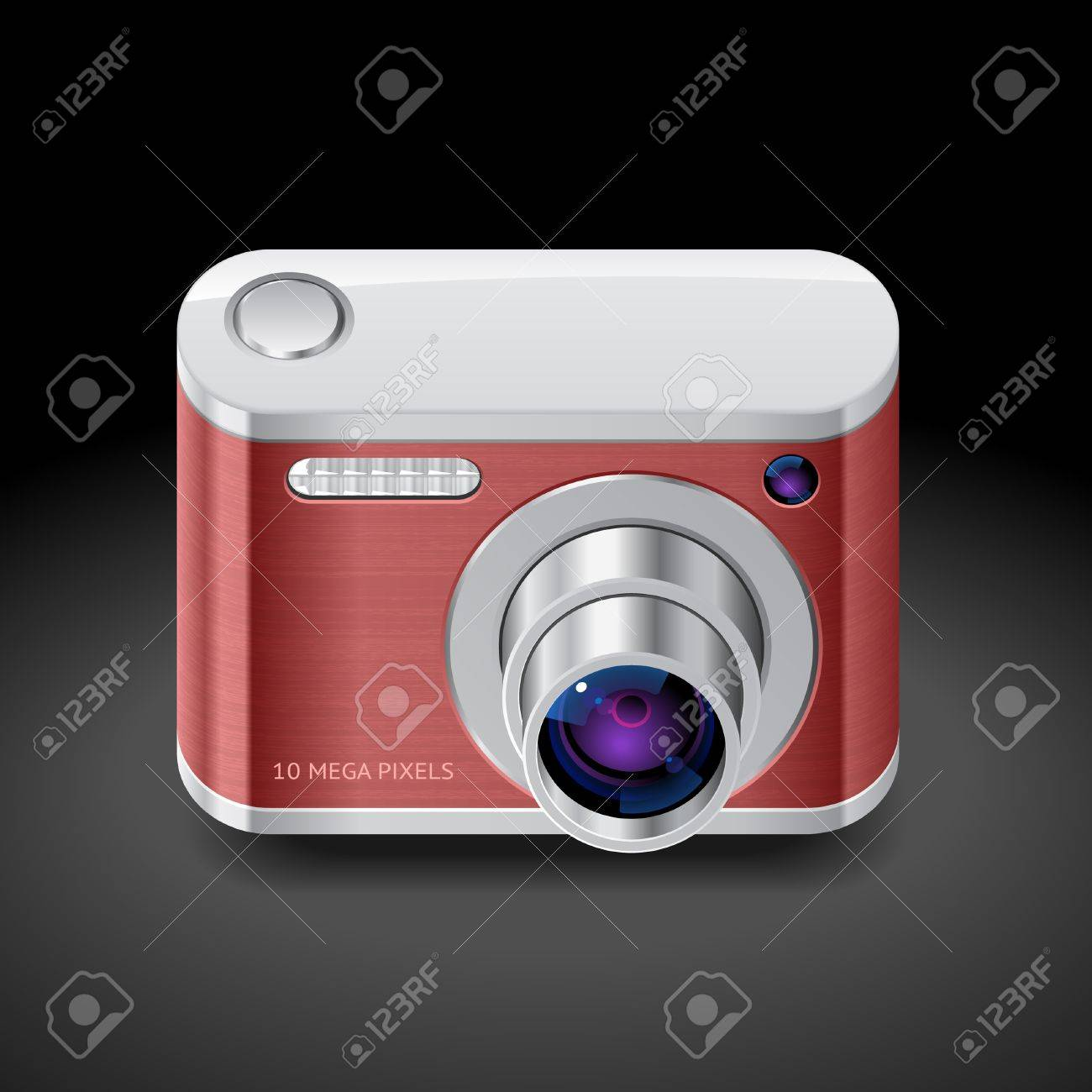 Icon for red compact camera. Dark background. Stock Vector - 18421467