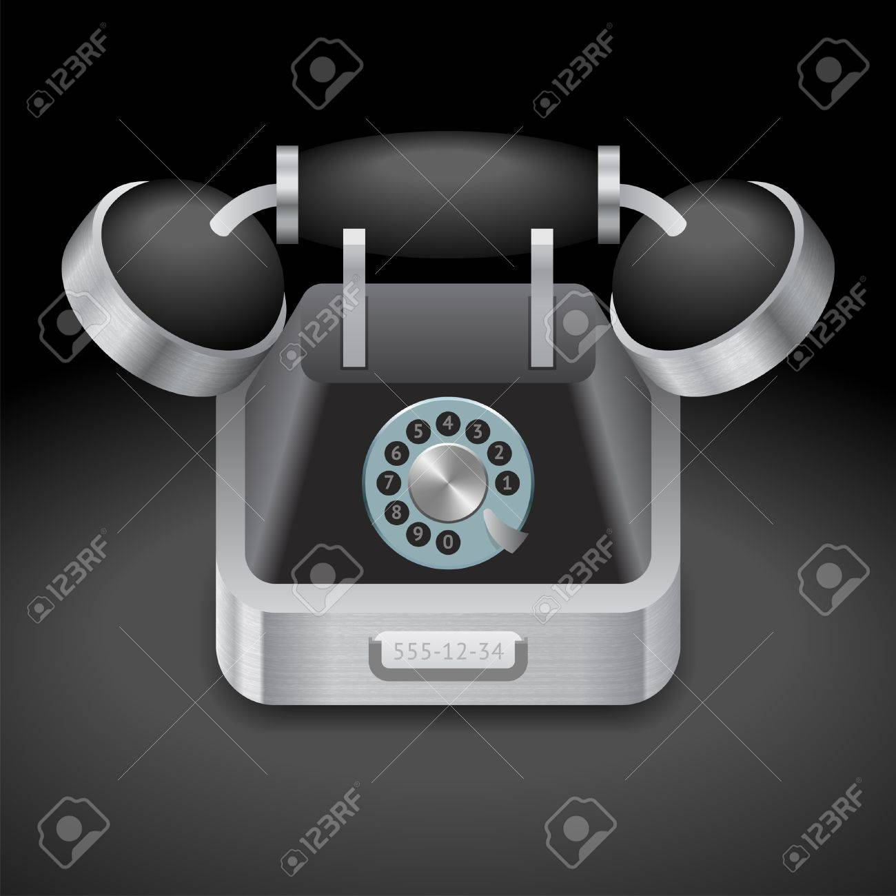 Icon for vintage phone. Dark background. Vector saved as eps-10, file contains objects with transparency. Stock Vector - 18422241