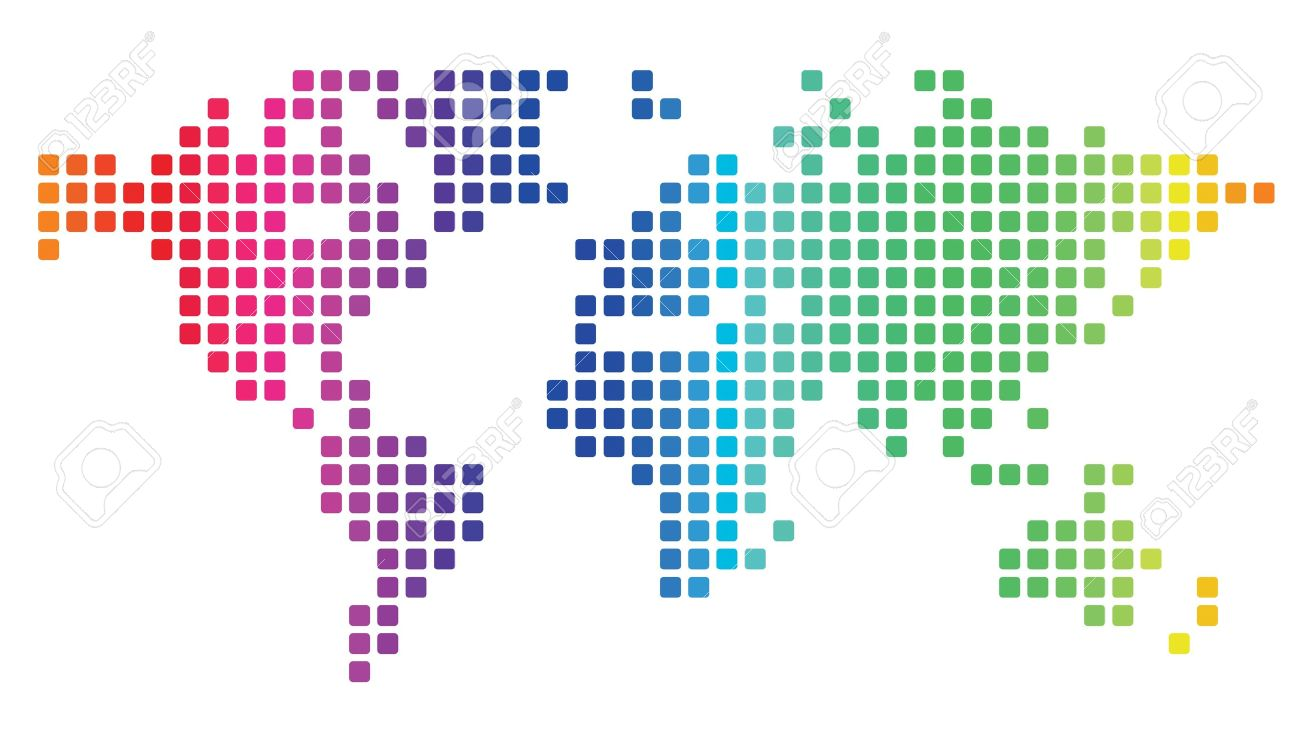 Multicolored dotted world map made of rounded rectangles. Vector illustration. - 18873475