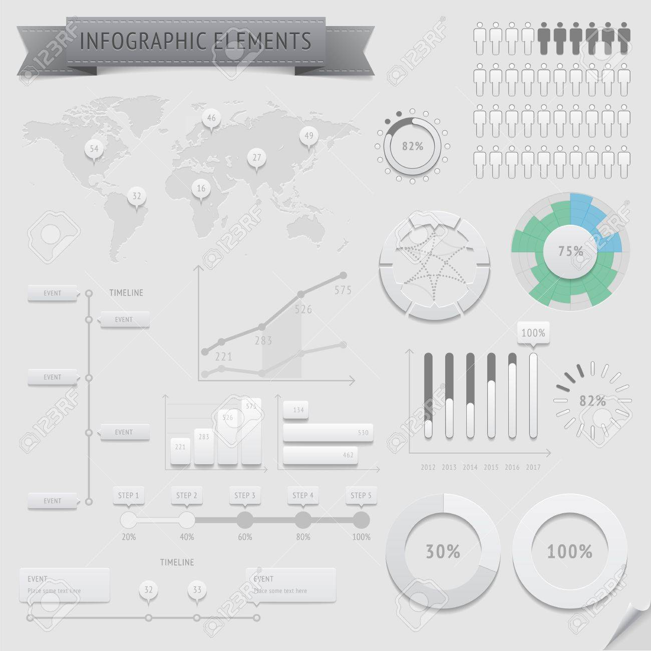Infographic design elements file contains objects with transparency shadows etc - 18982783