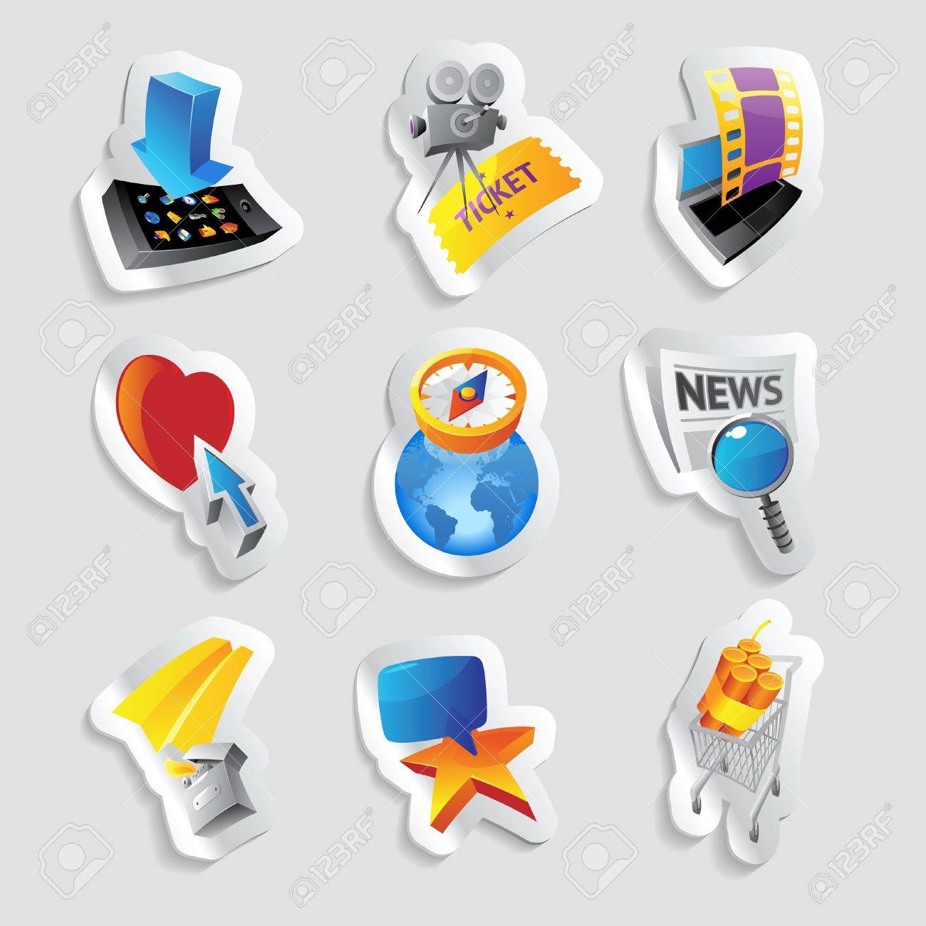 Icons for media and entertainment illustration Stock Vector - 20334886