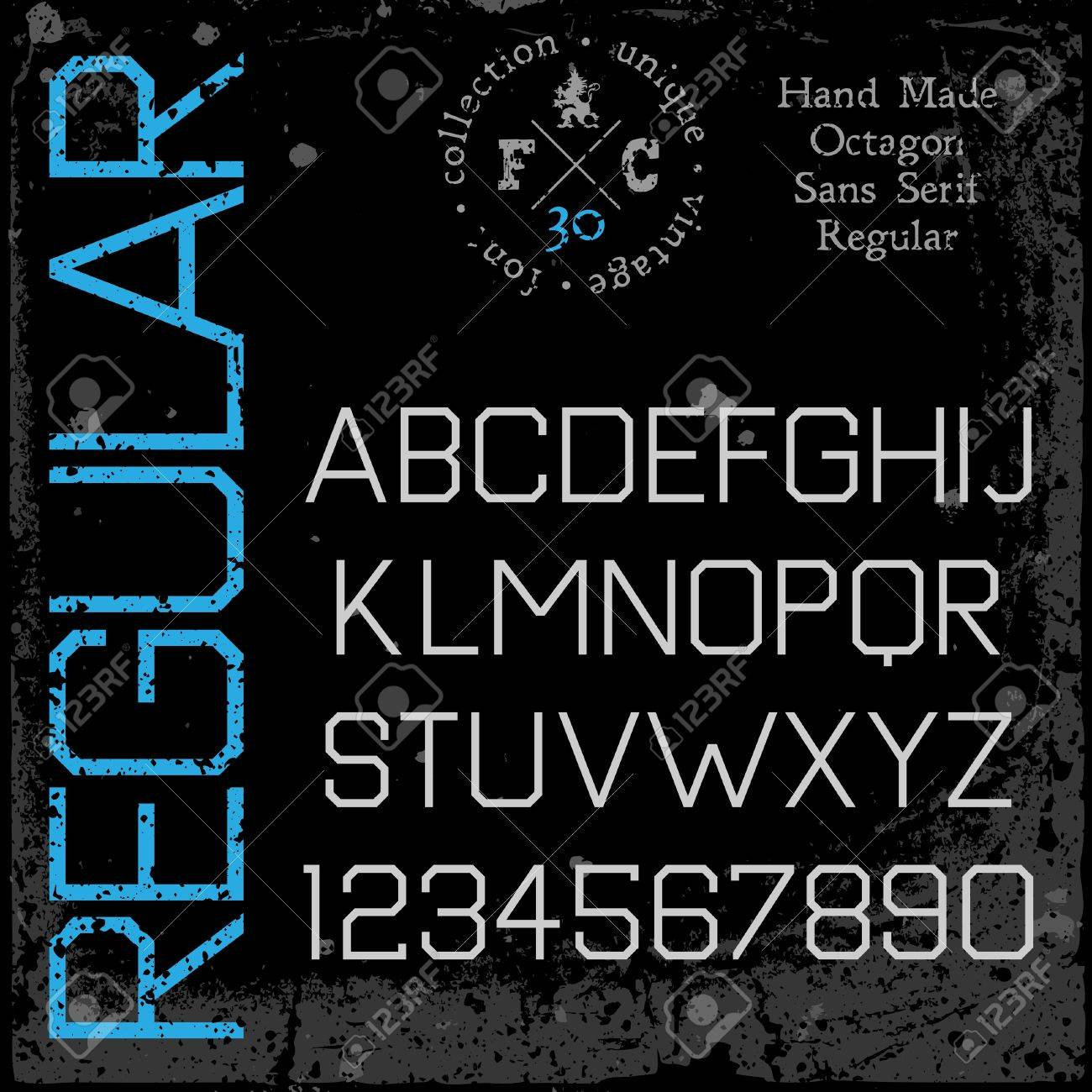 Handmade retro font. Sans serif type. Grunge textures placed in separate layers. Vector illustration. Stock Vector - 22099115