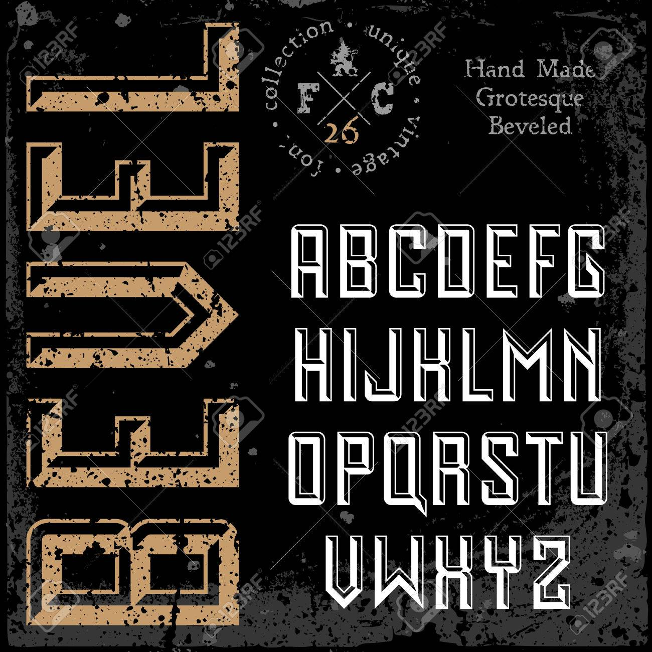 Handmade retro font. Sans serif 3d beveled type. Stock Vector - 22548898