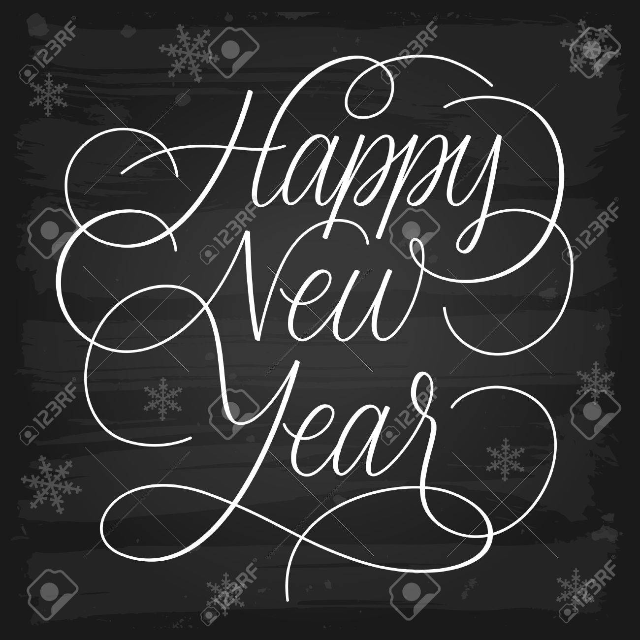 Happy New Year greetings chalkboard EPS-10 vector with transparency - 23202672
