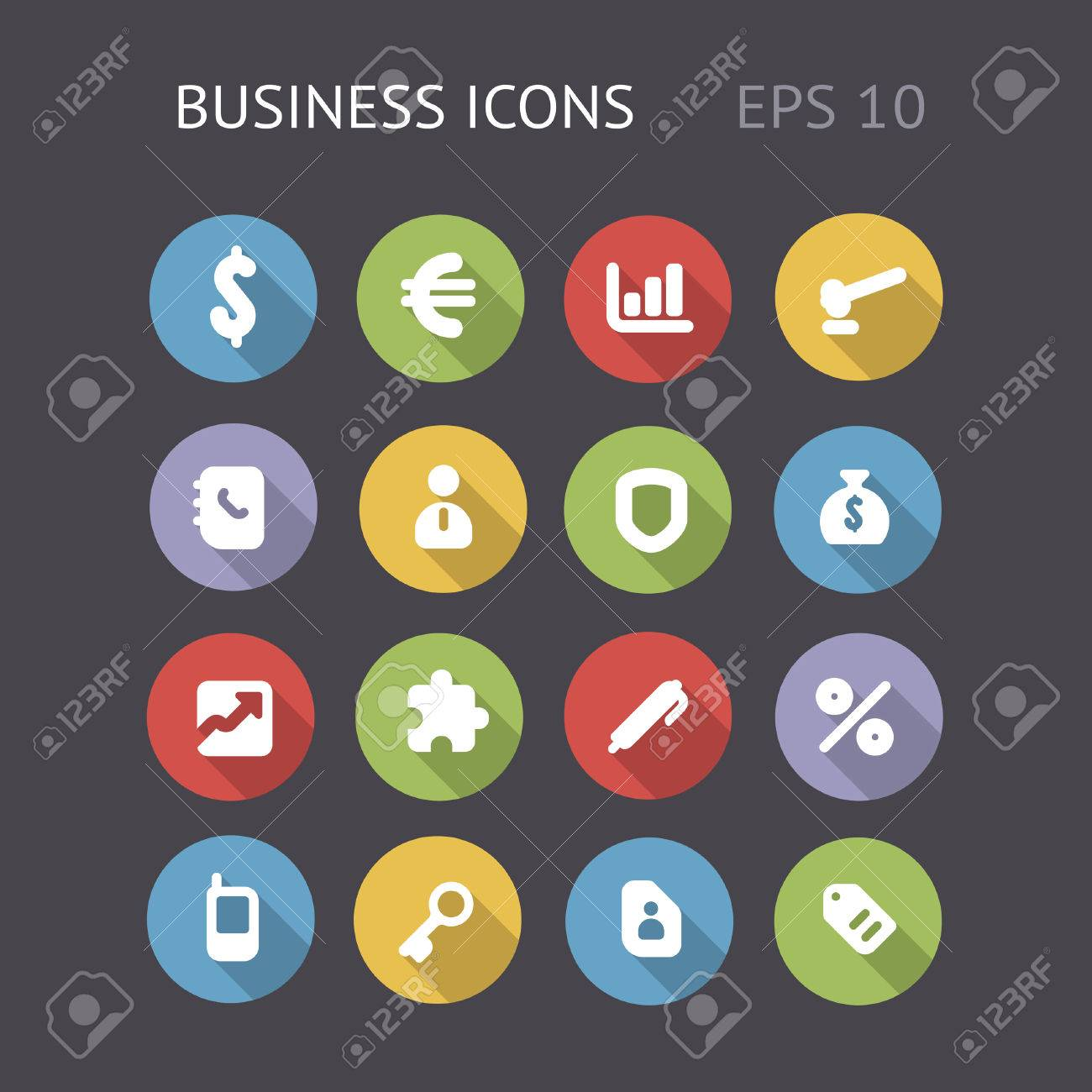 Flat icons for business Vector eps10 contains objects with transparency - 23202677