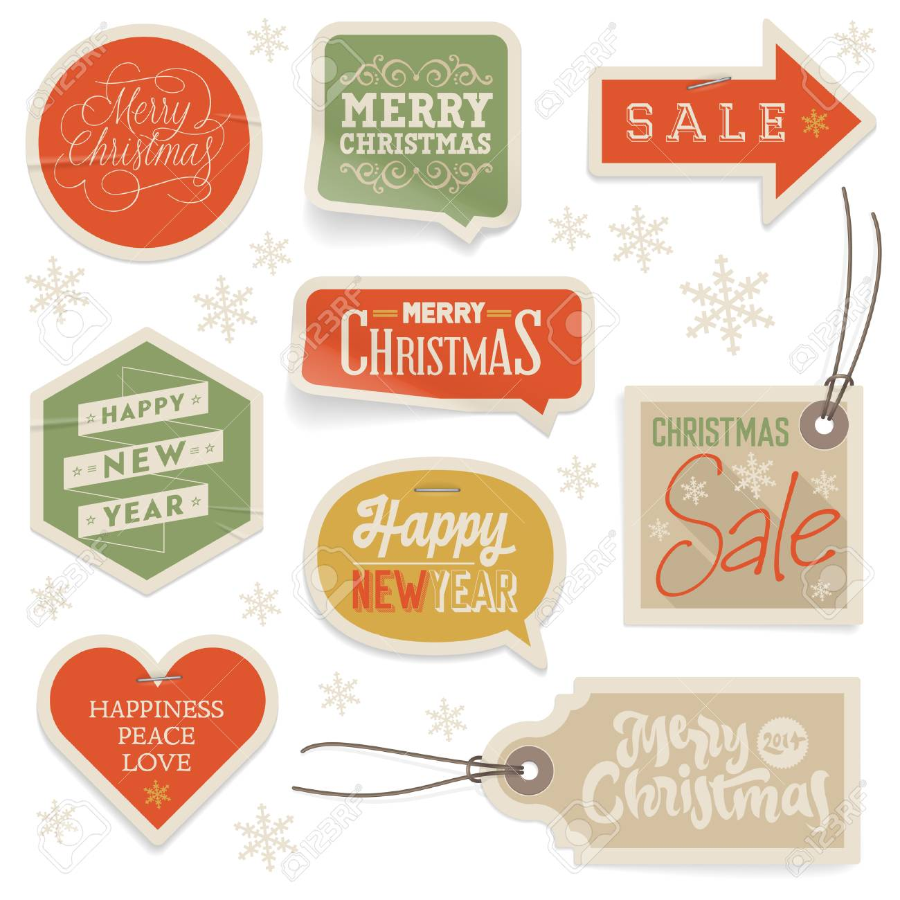 stickers and labels for christmas and new year vector eps 10 with transparency stock vector
