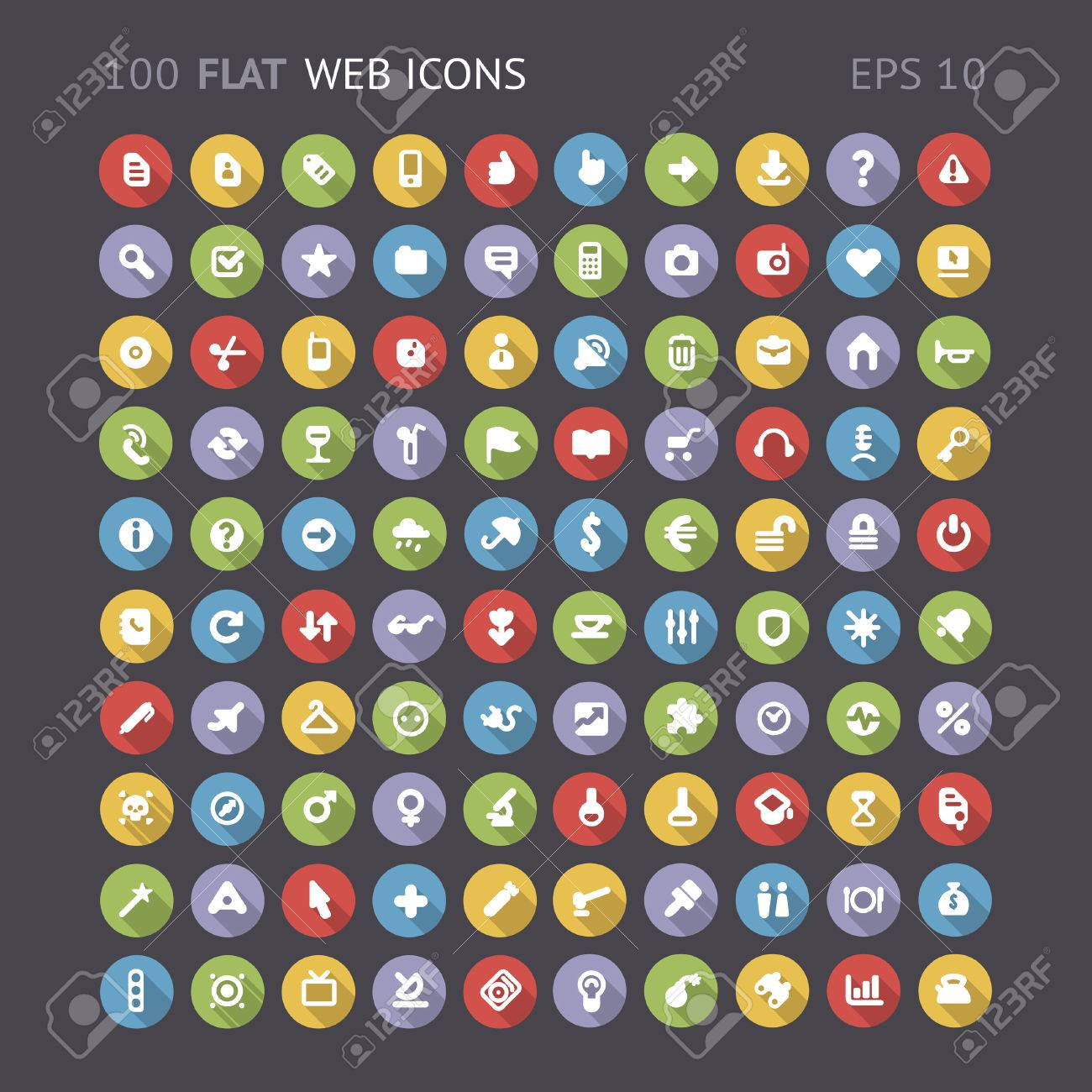 100 Flat web interface icons contains objects with transparency - 27316812