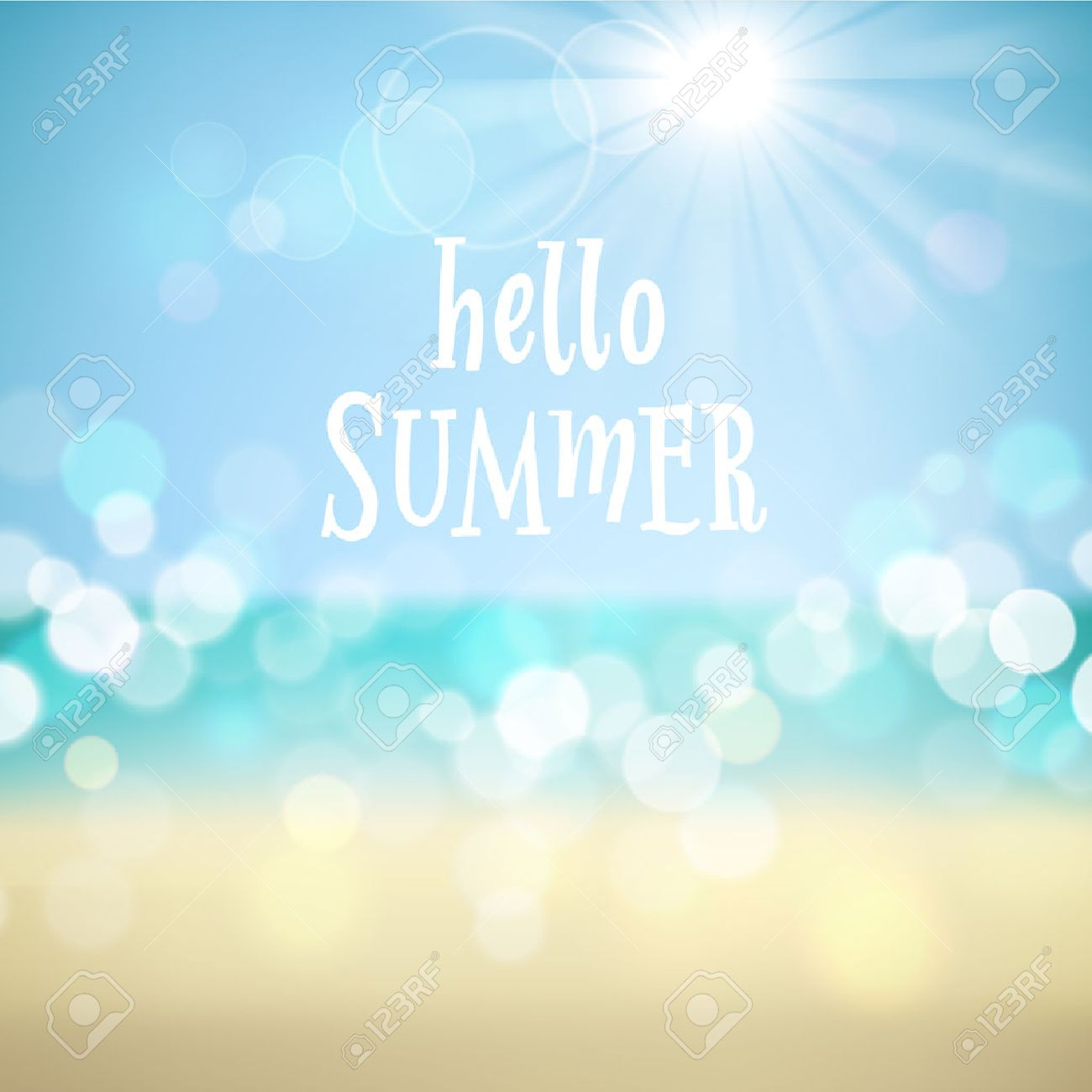 Hello summer. Poster on tropical beach background. Vector eps10. - 28985443
