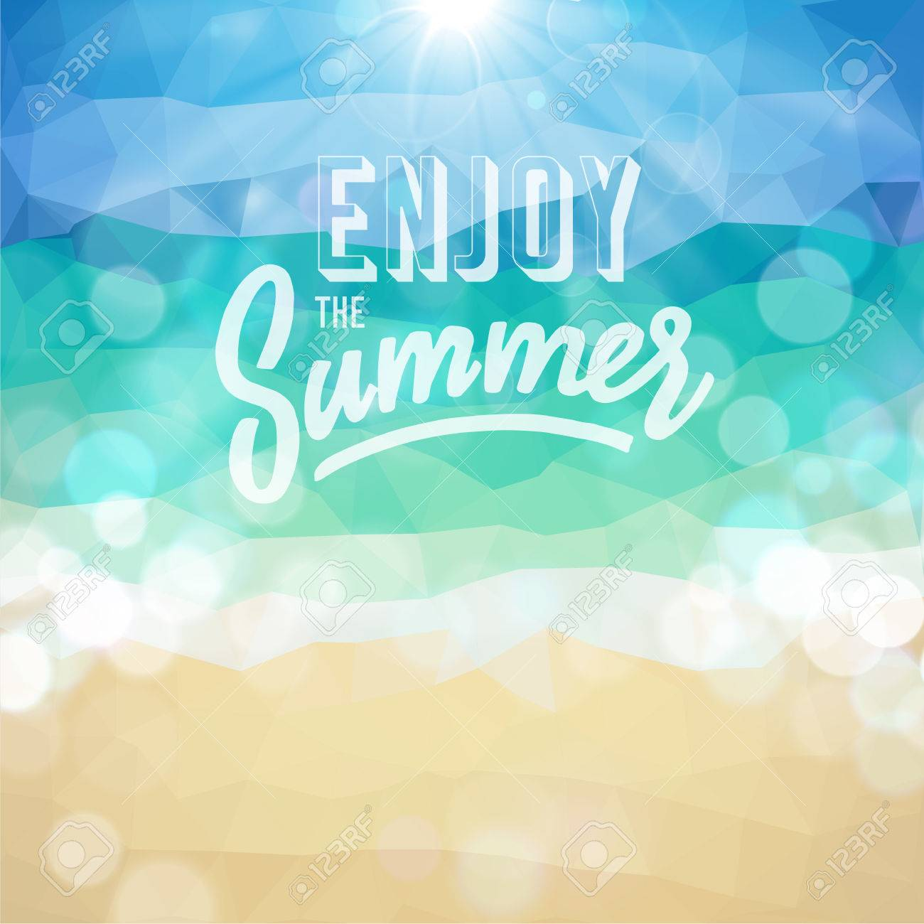 Enjoy the summer Poster on tropical beach background - 29232194