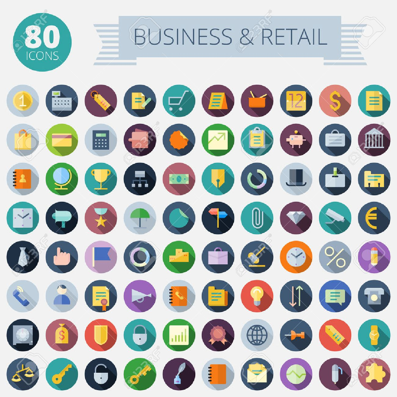 Flat Design Icons For Business, Banking and Retail Easy to recolor Transparent shadows and relief in separate layers - 30218881