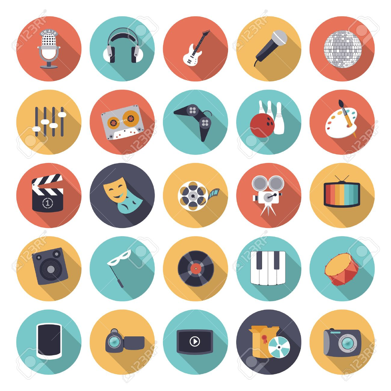 Flat design icons for leisure and entertainment. Vector eps10 with transparency. - 41947617