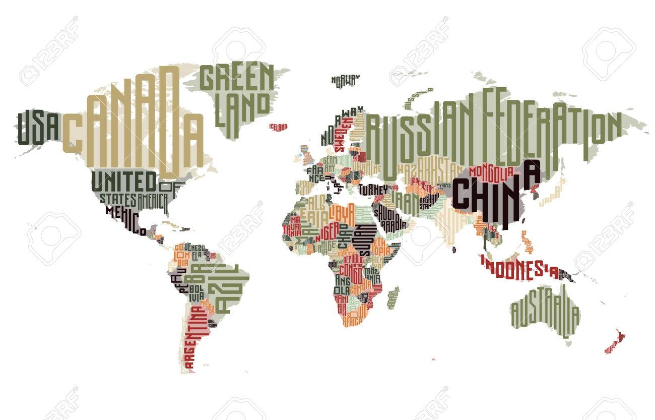 World map made of typographic country names vector illustration vector world map made of typographic country names vector illustration gumiabroncs Gallery
