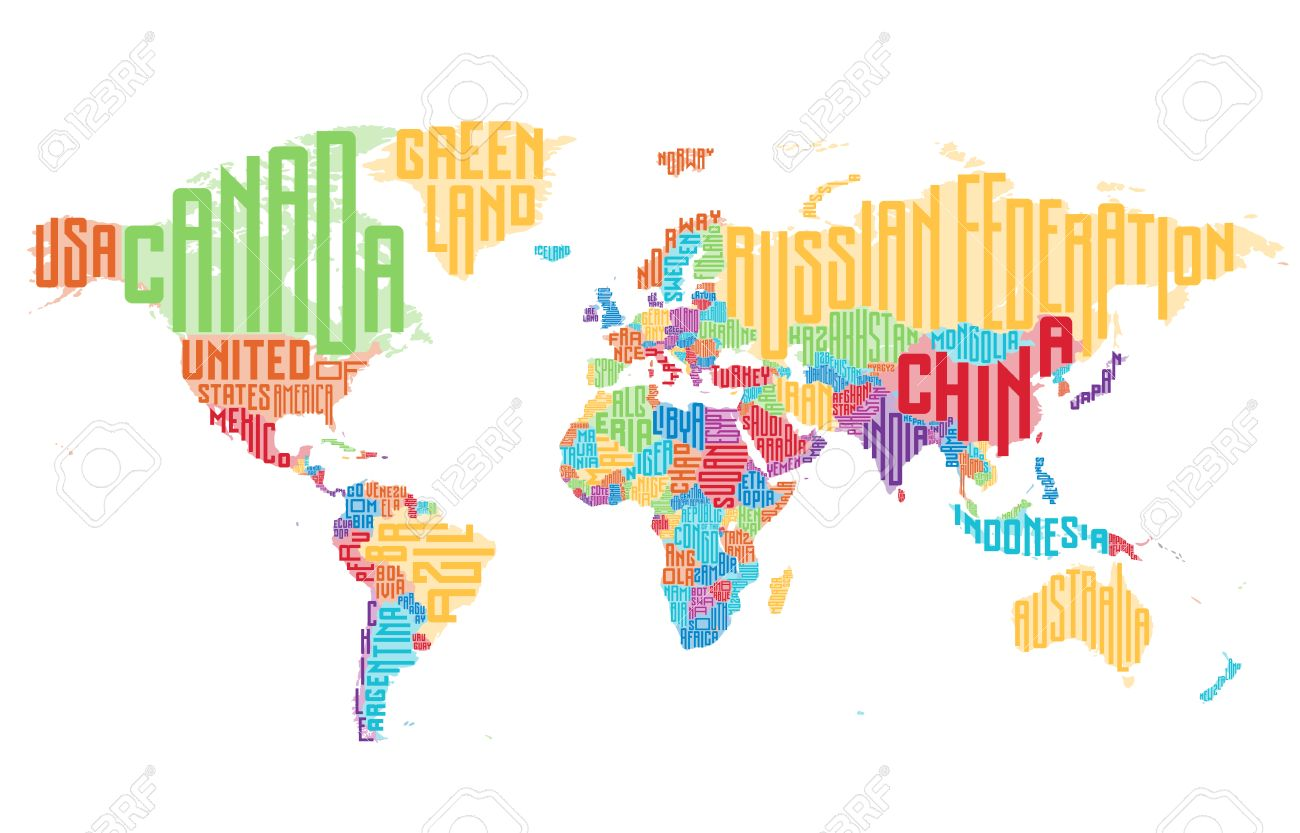 World Map Made Of Typographic Country Names Vector Illustration - World map with country names