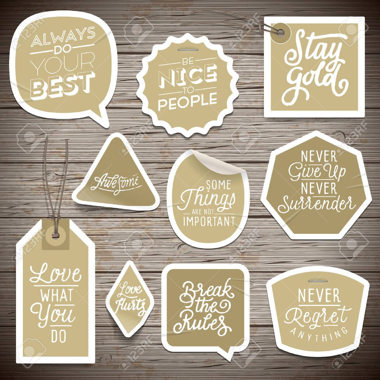 Stickers on rustic wood background. Vector illustration. - 51849933