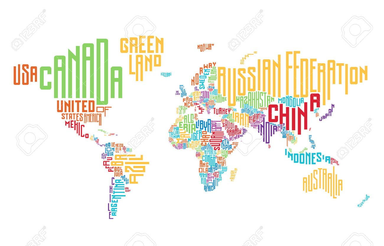 World Map Made Of Typographic Country Names Vector Illustration