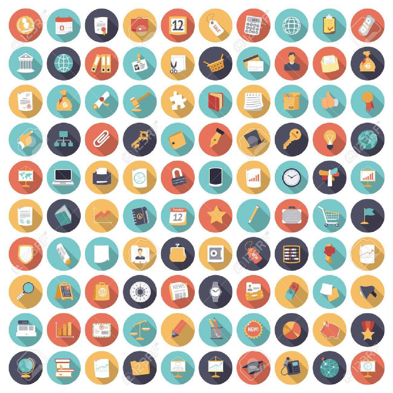 Flat design icons for business and finance. Vector eps10 with transparency. - 54702802