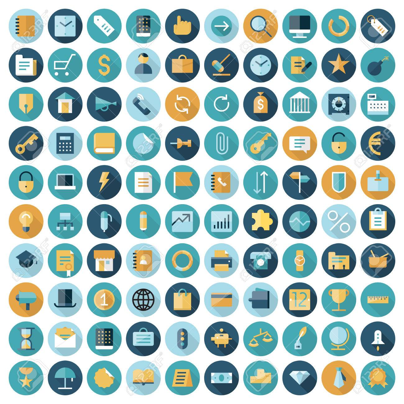 Flat design icons for business and finance. Vector eps10 with transparency. - 54724164