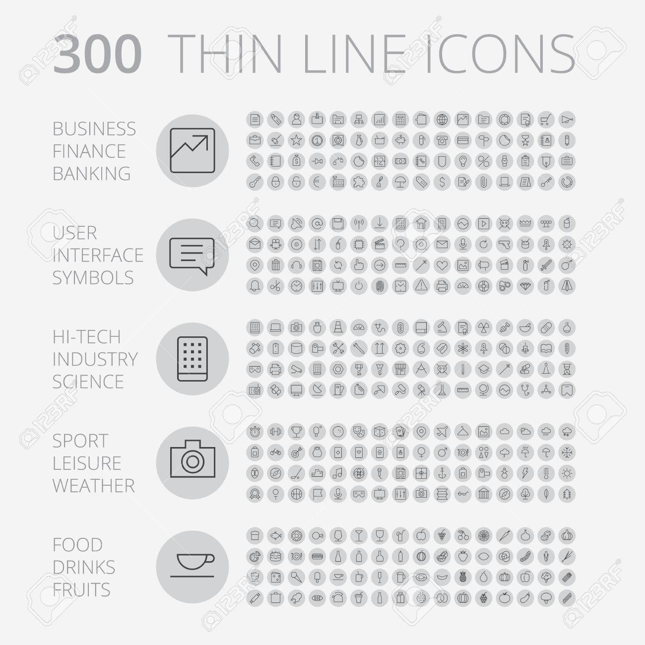 Thin Line Icons For Business, Interface, Leisure and Food. Vector - 58812594