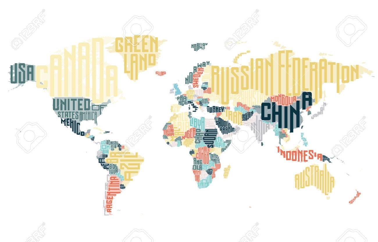 World map made of typographic country names vector illustration world map made of typographic country names vector illustration stock vector 58812650 gumiabroncs Choice Image